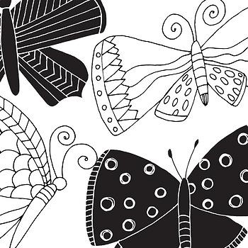 Whimsical butterfly line art. Butterflies clipart doodle