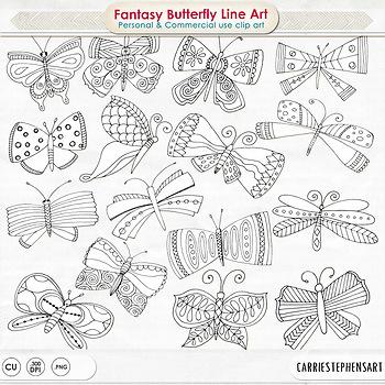 Butterflies clipart doodle. Whimsical butterfly line art