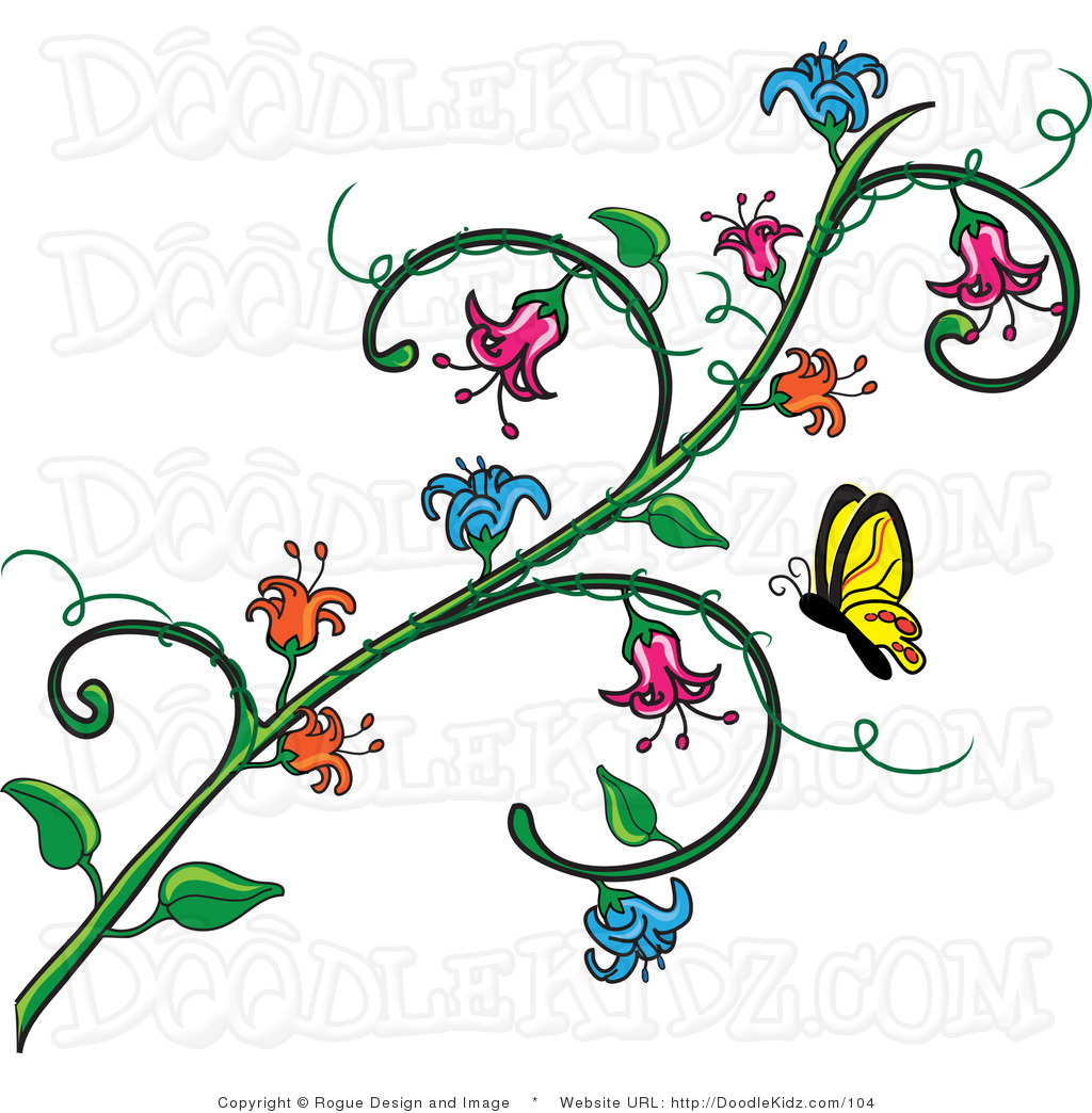 Butterflies clipart doodle. Butterfly and flower vine