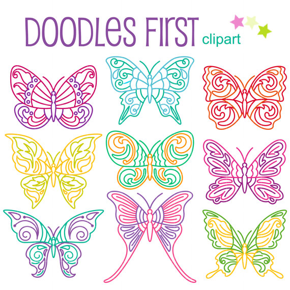 Dainty butterfly doodles clip. Butterflies clipart doodle