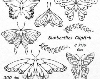 Butterflies etsy vector clip. Butterfly clipart doodle