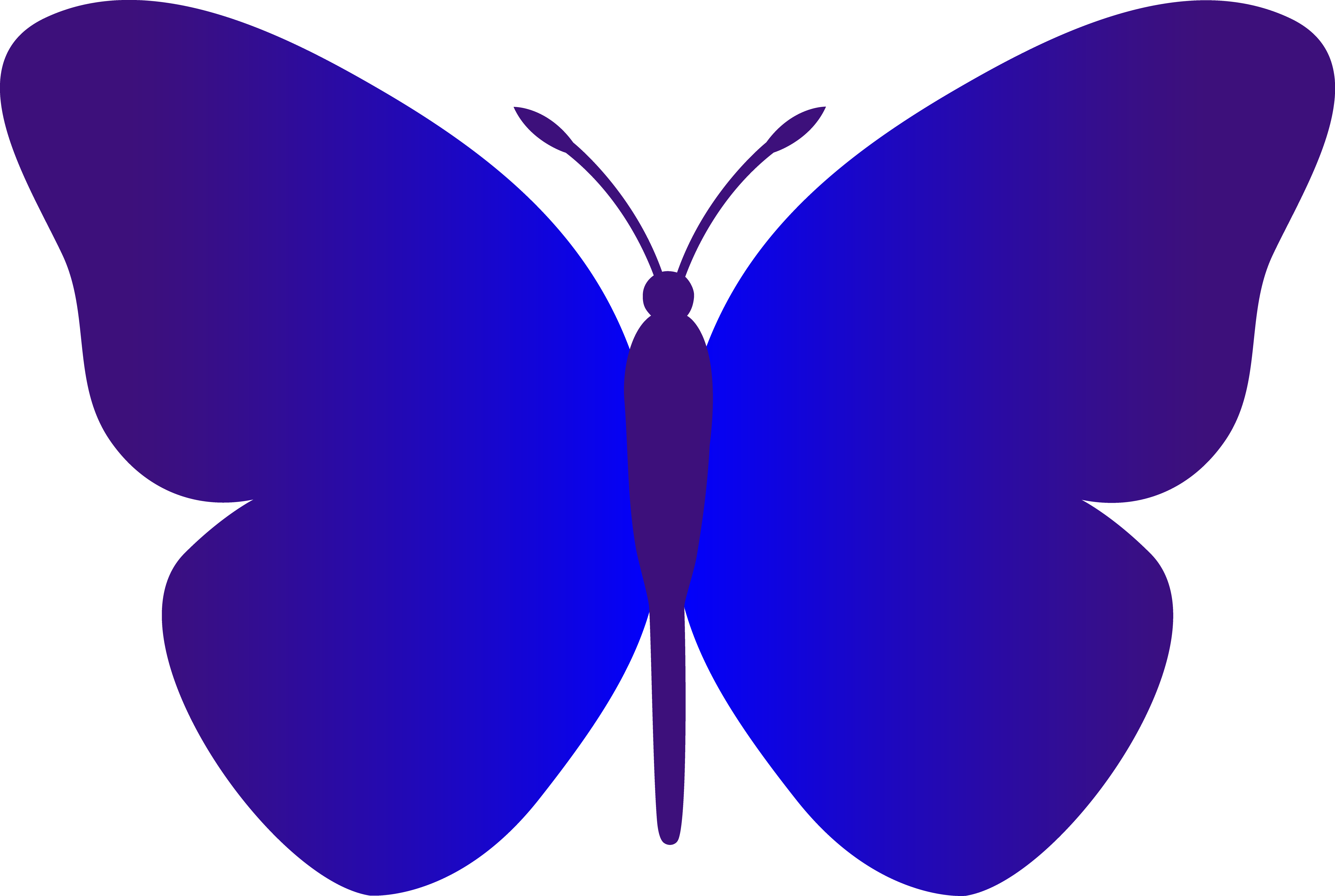 One clipart one block. Simple blue butterfly free