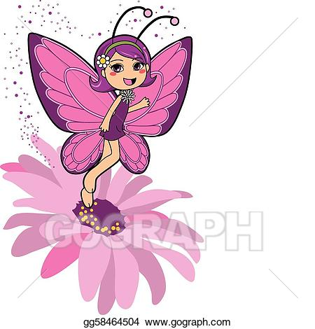 Vector art drawing gg. Clipart butterfly fairy