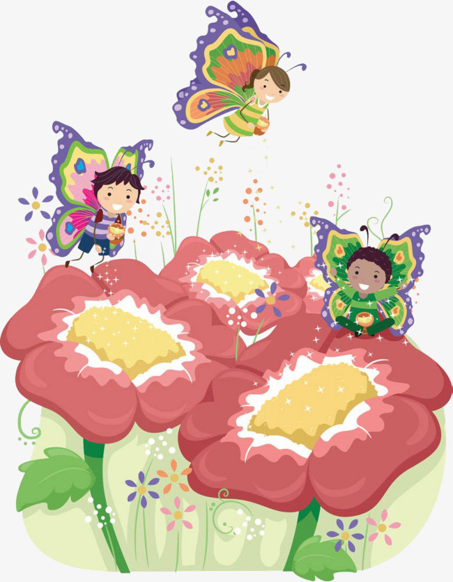 Fairies and flowers png. Butterfly clipart fairy