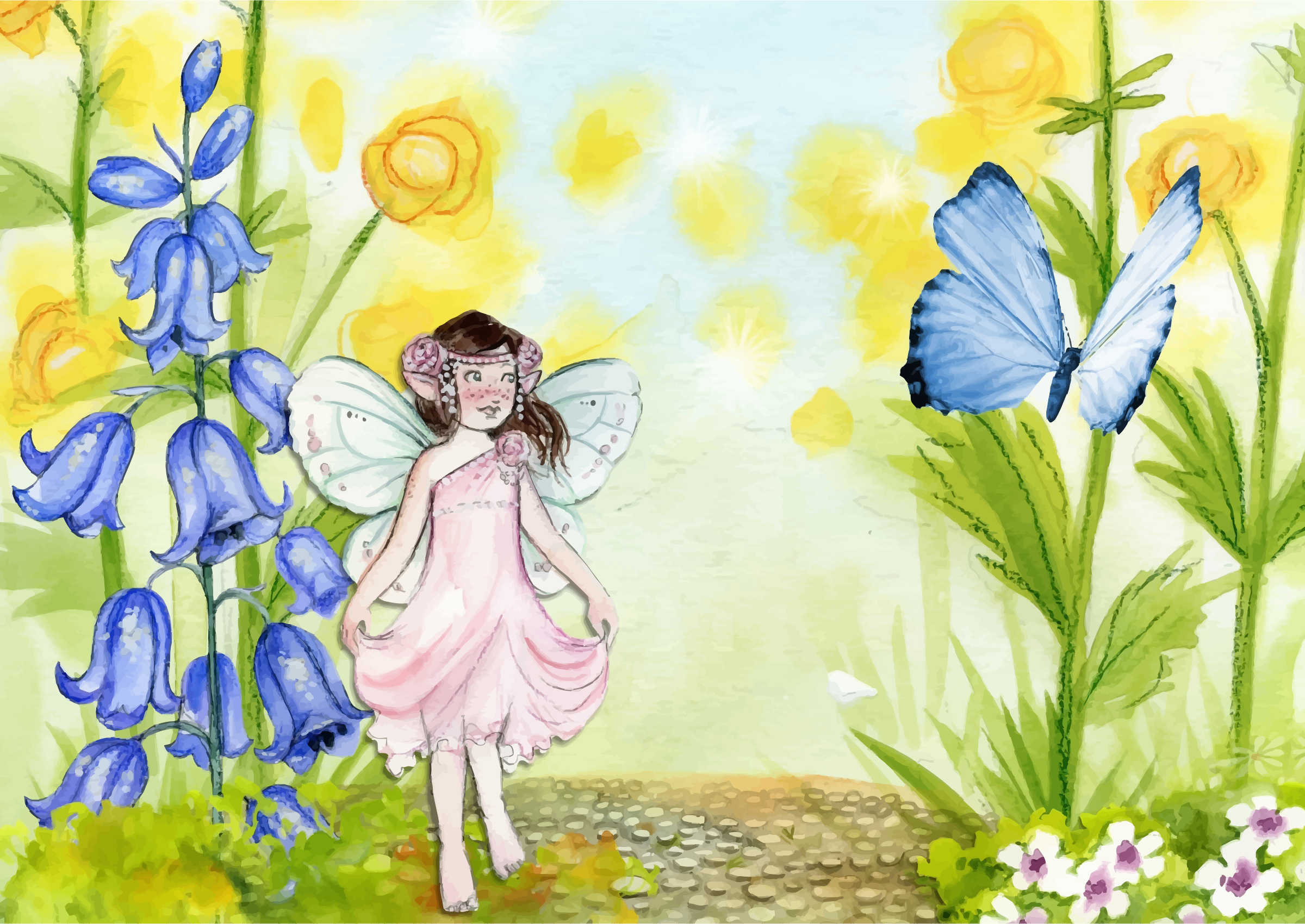Fairy and icons png. Butterfly clipart scene