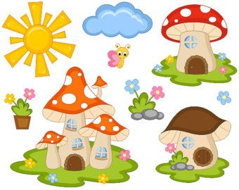Butterfly clipart fairy. Cute tail mushroom houses