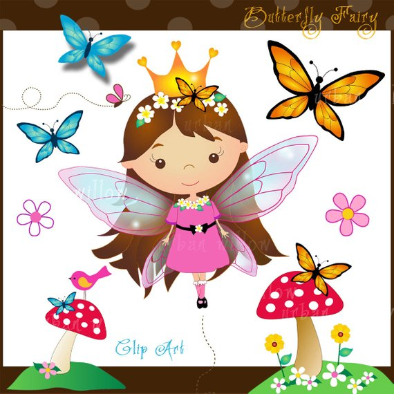 Cute butterflies . Clipart butterfly fairy