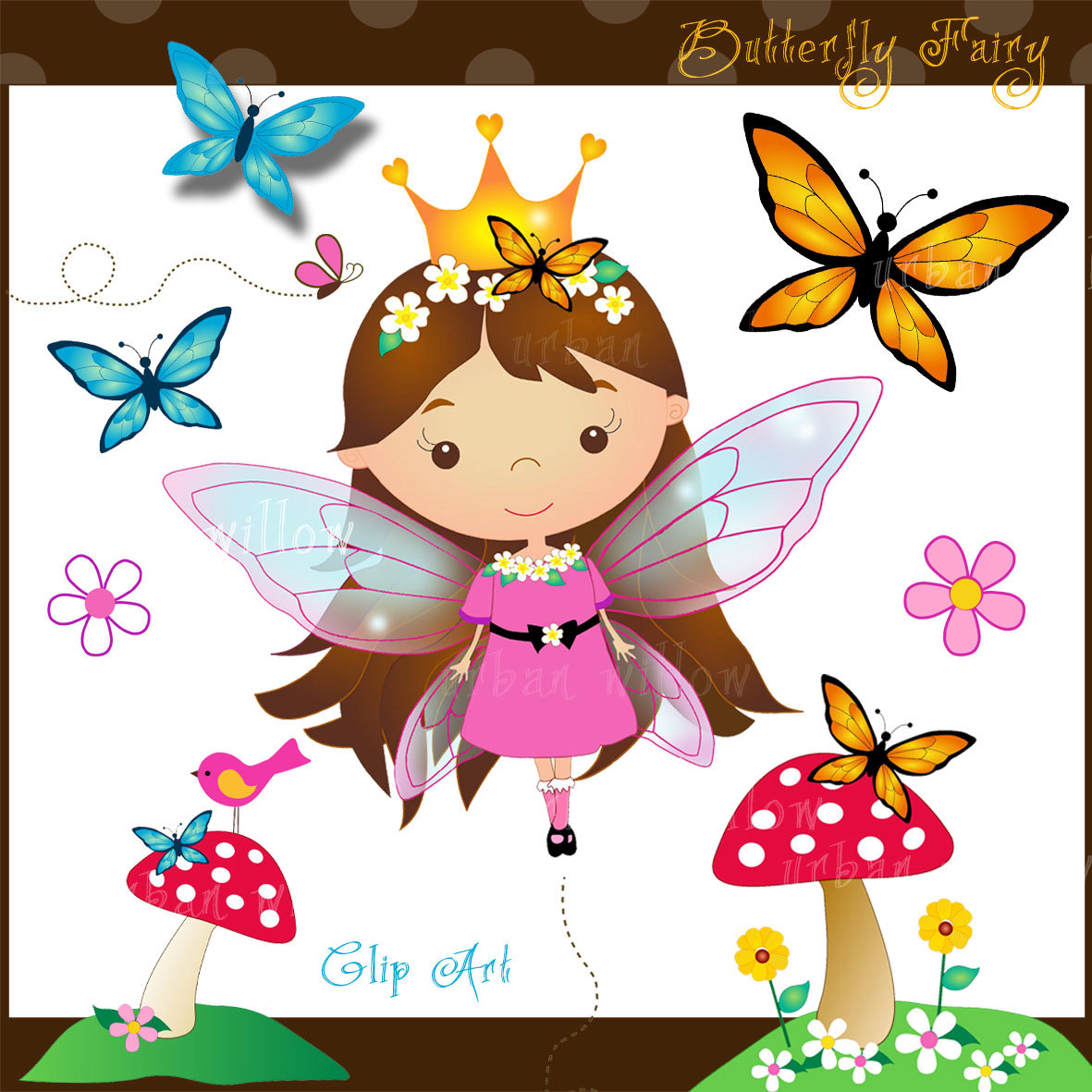 Fairy clipart butterfly. Cute butterflies commercial use