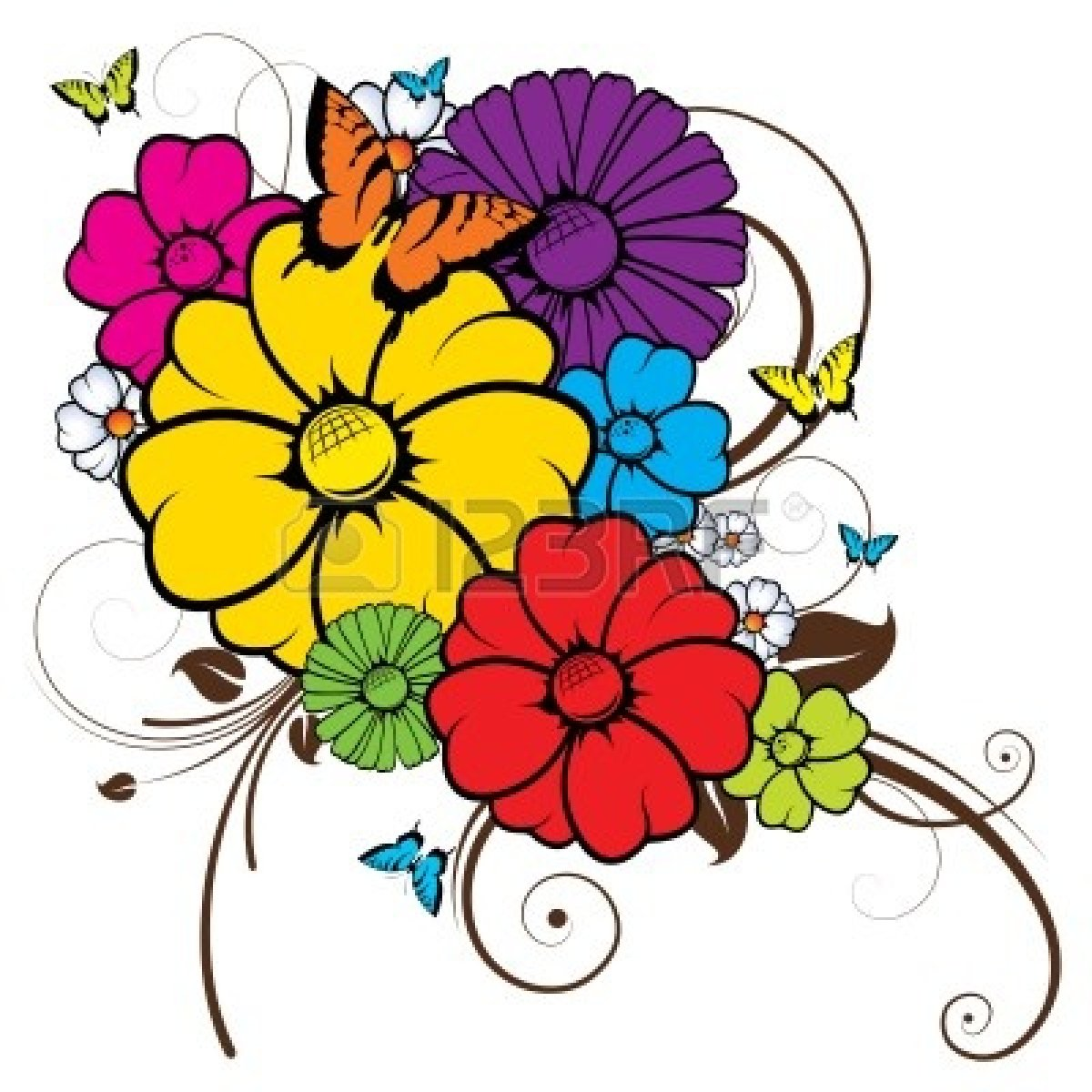 Free flowers and butterflies. Flower clipart butterfly