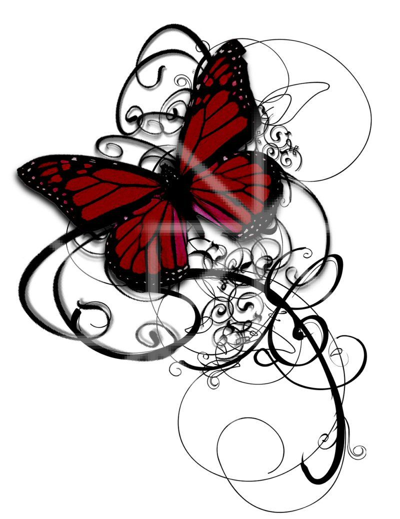 Butterfly clipart gothic. Temporary tattoo swirls deep