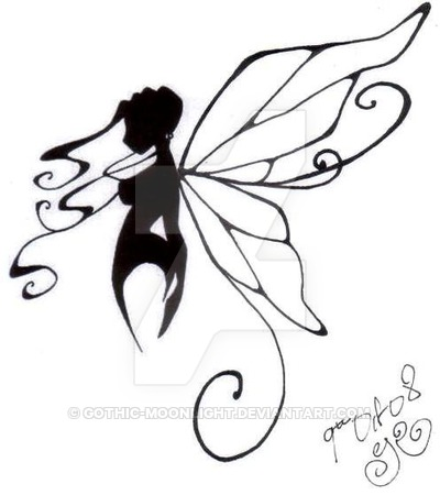 Butterfly clipart gothic. A fairy by moonlight