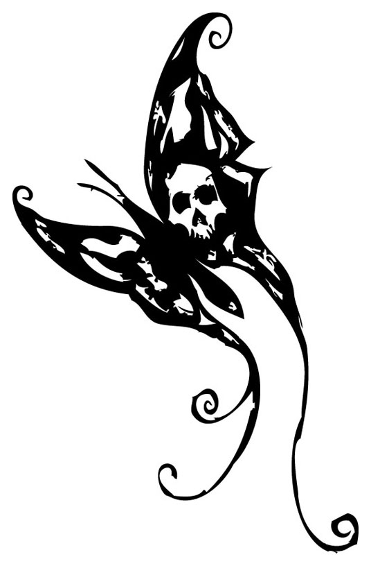 Black tattoo stencil by. Butterfly clipart gothic