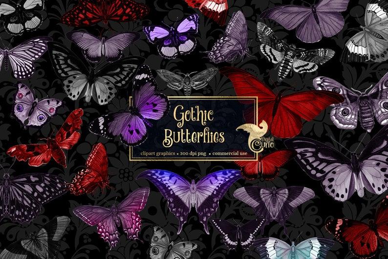 Butterflies vintage clip art. Butterfly clipart gothic