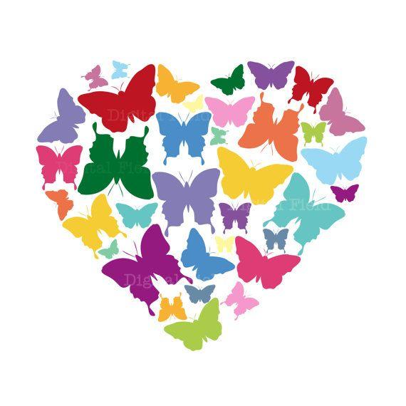 Butterfly clipart heart. Butterflies clip art