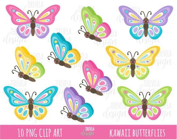 sale butterflies clip. Butterfly clipart kawaii