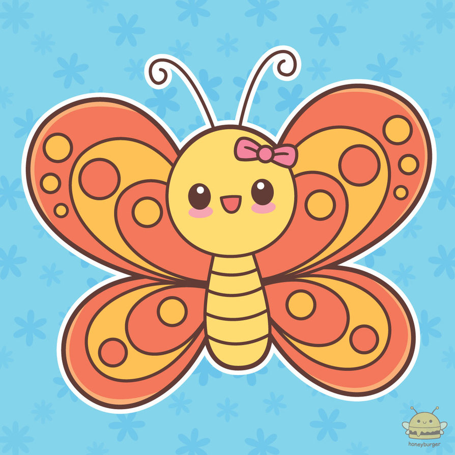 Flying by honeyburger on. Butterfly clipart kawaii
