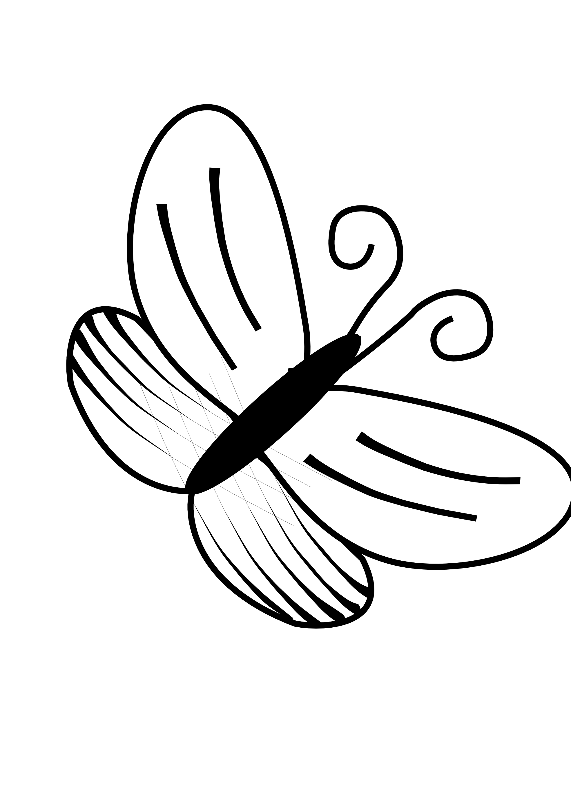 Line drawings of butterflies. Retro clipart rugby