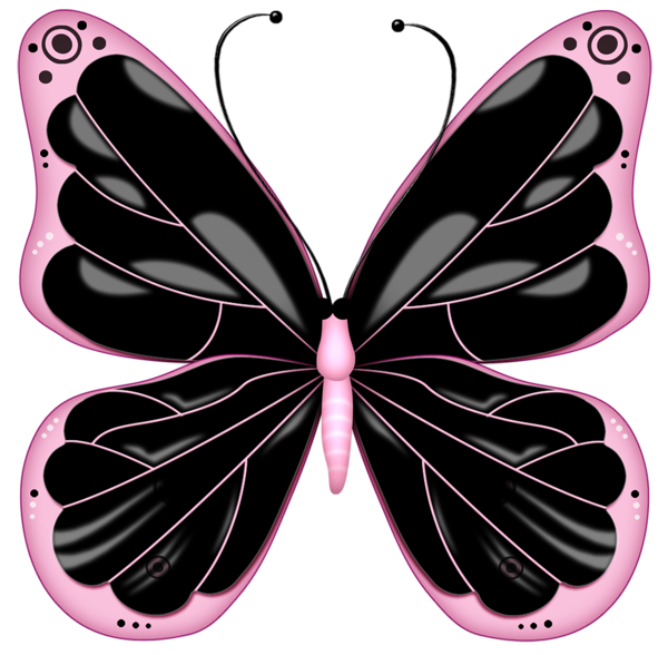 Clipart butterfly printable. Black and pink transparent