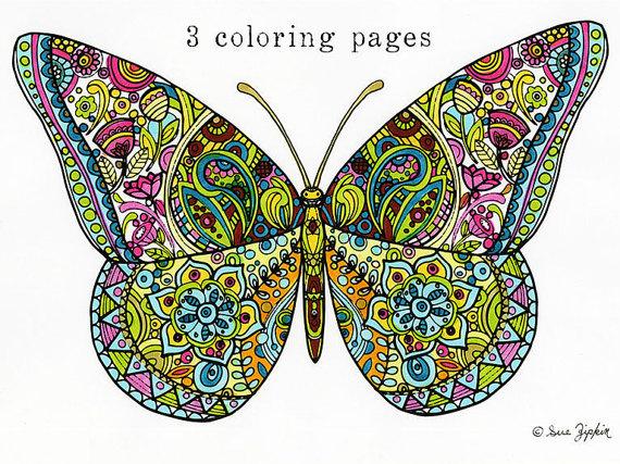 Butterfly clipart mandala. Sue zipkin printable set
