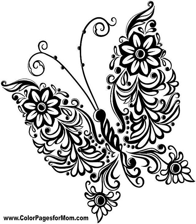Butterfly clipart mandala. Coloring page butterflies to