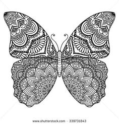 Vintage decorative elements with. Butterfly clipart mandala
