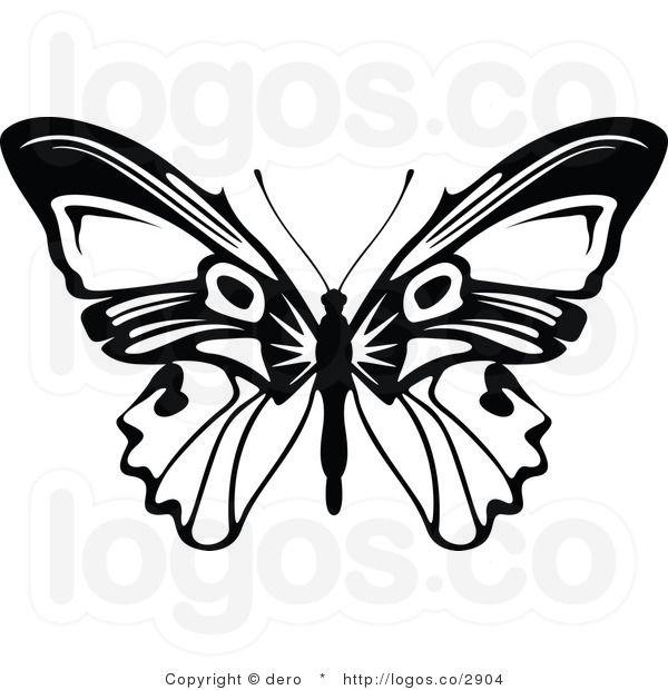 Vector royalty free black. Butterfly clipart mandala