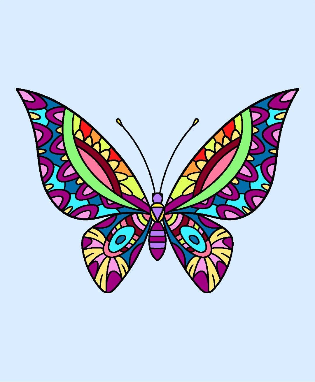 Doodling art . Clipart butterfly mandala