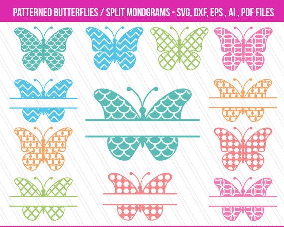 Butterfly svg cutting files. Butterflies clipart monogram