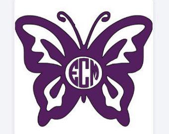 Butterfly etsy vinyl decal. Butterflies clipart monogram