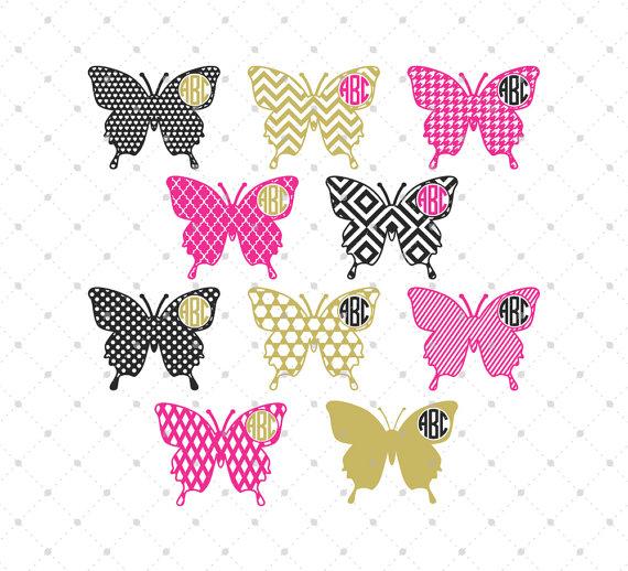 Butterflies clipart monogram. Butterfly frame svg cut