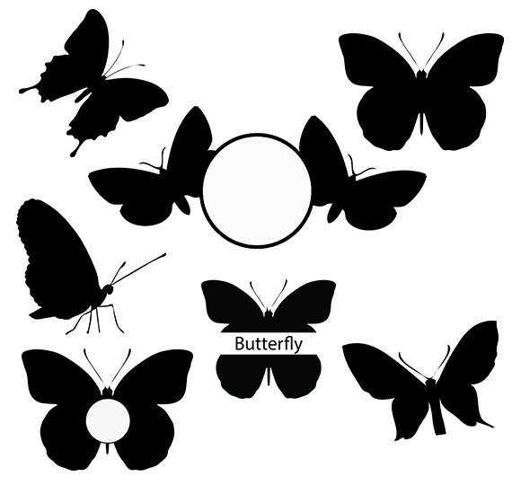 Butterflies clipart monogram. Butterfly svg silhouette pack