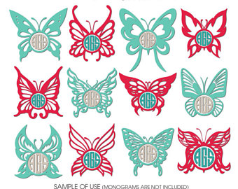 Butterflies clipart monogram. Etsy butterfly frames digital