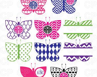 Butterfly etsy studio svg. Butterflies clipart monogram