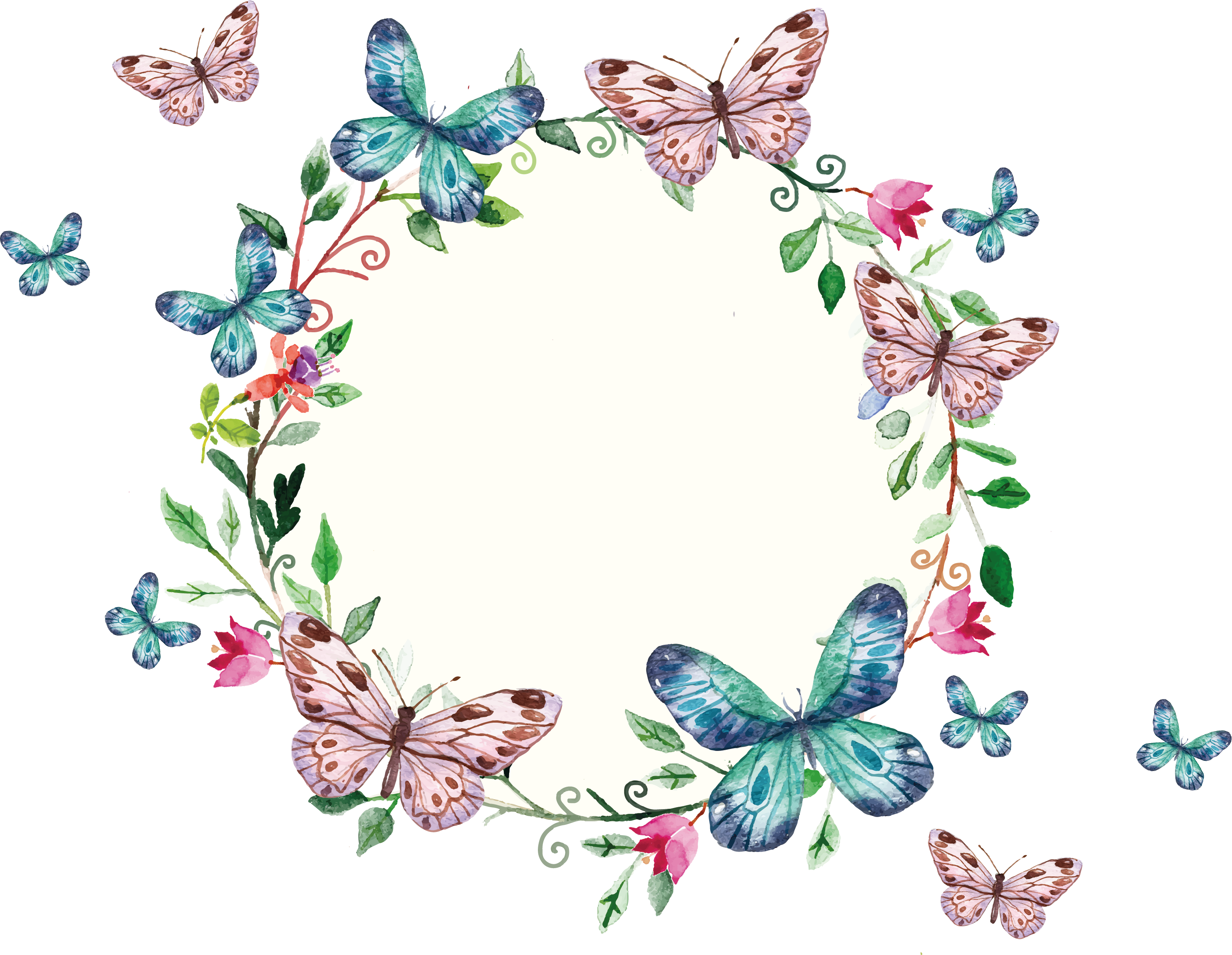 Circle clipart butterfly. Freepi com floral wreath