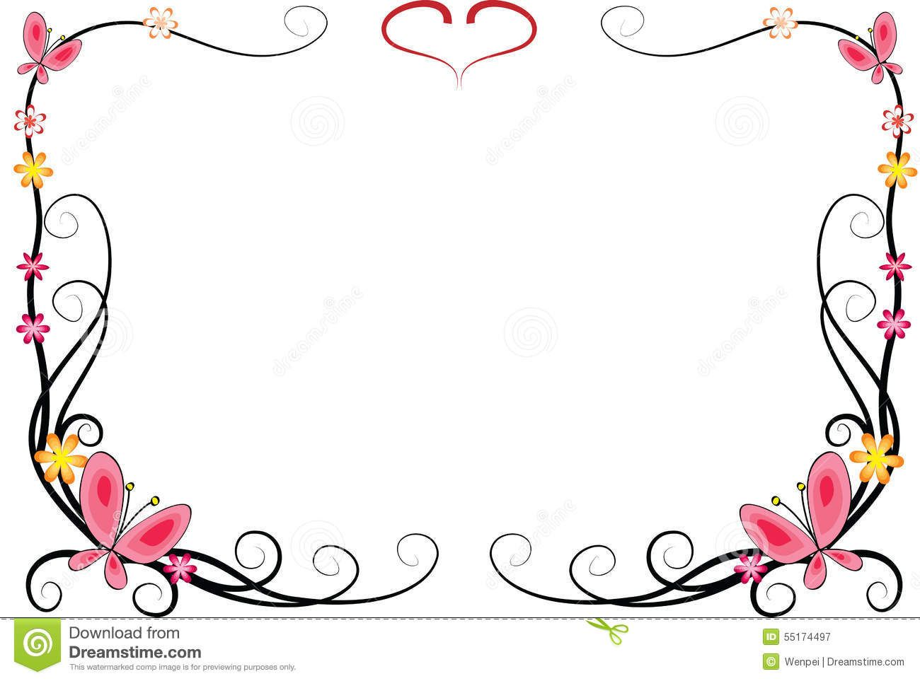 Fleurs vector drawing flowers. Butterfly clipart picture frame