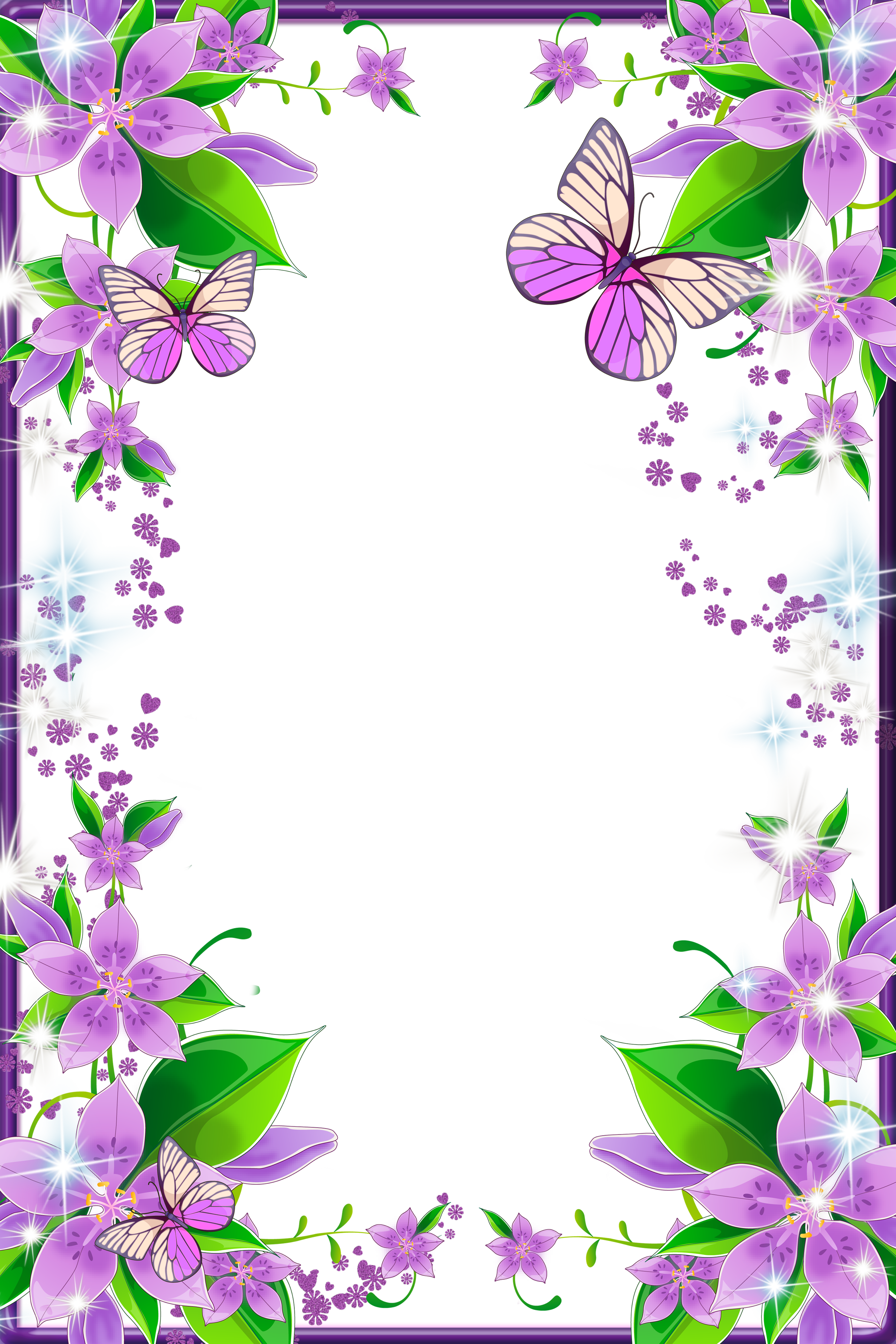 Light purple flowers and. Butterfly clipart picture frame
