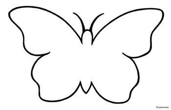 Butterfly clipart plain. Black and white outline