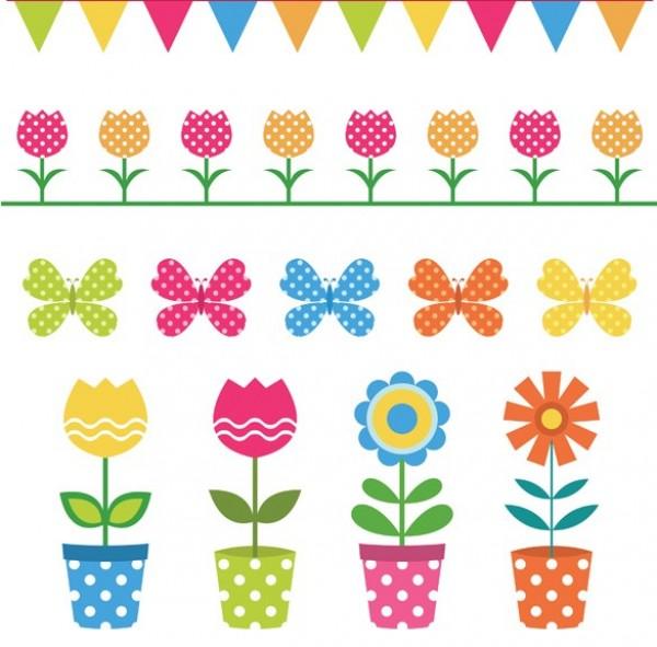 Sweet dots flower pots. Butterflies clipart polka dot