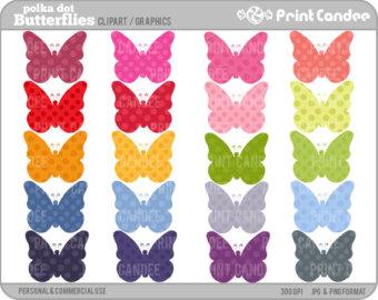 Butterfly etsy set of. Butterflies clipart polka dot