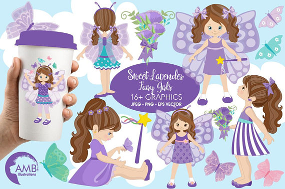 Fairy girls ilxn. Butterfly clipart princess