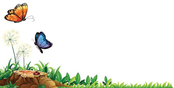 Butterfly clipart scene. With butterflies in the