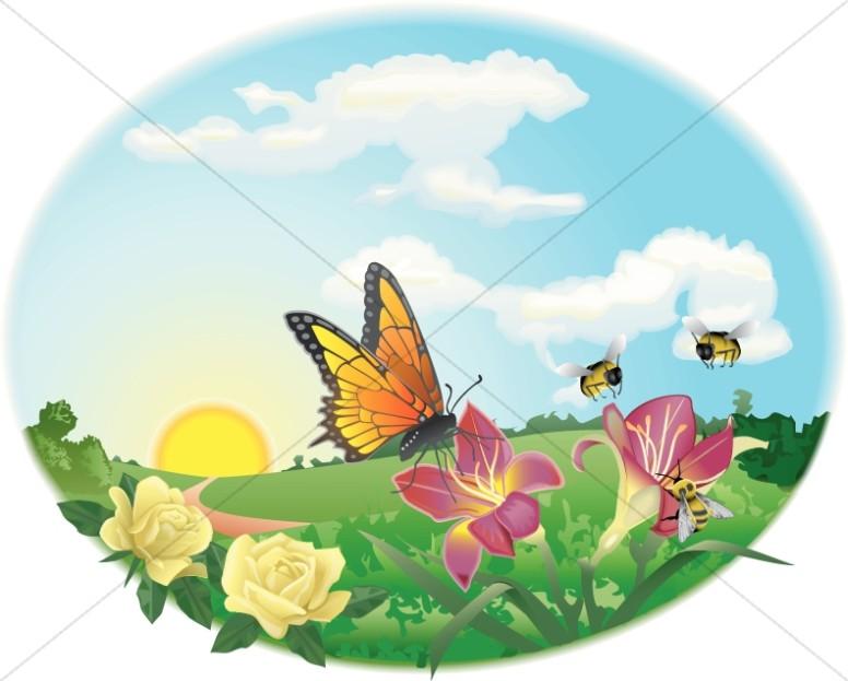 Spring garden. Butterfly clipart scene