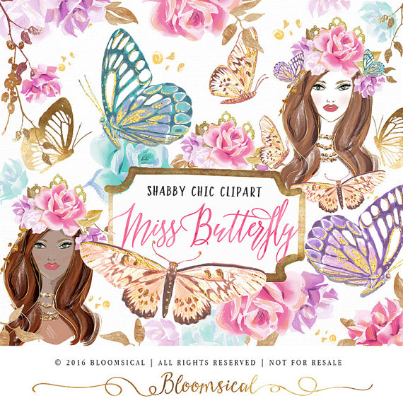 Miss clip art hand. Butterfly clipart shabby chic