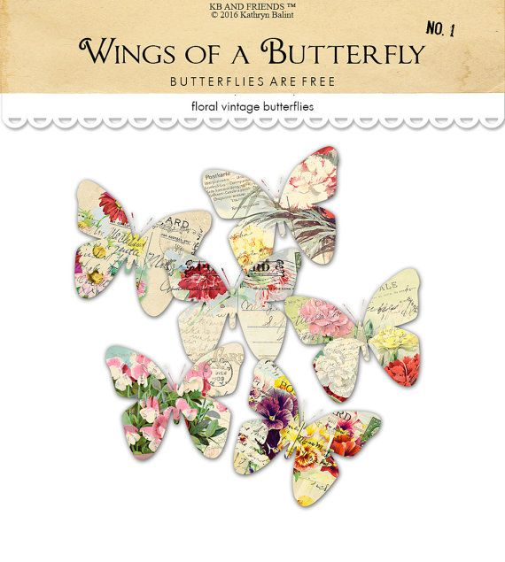 Digital vintage floral butterflies. Butterfly clipart shabby chic