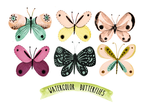 butterfly clipart shabby chic