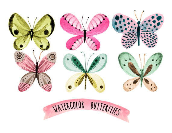 Butterfly clipart shabby chic. Spring wreath watercolor floral