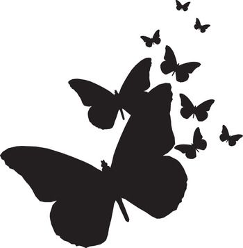 Butterfly clipart silhouette. Butterflies silhouettes rubber stamps