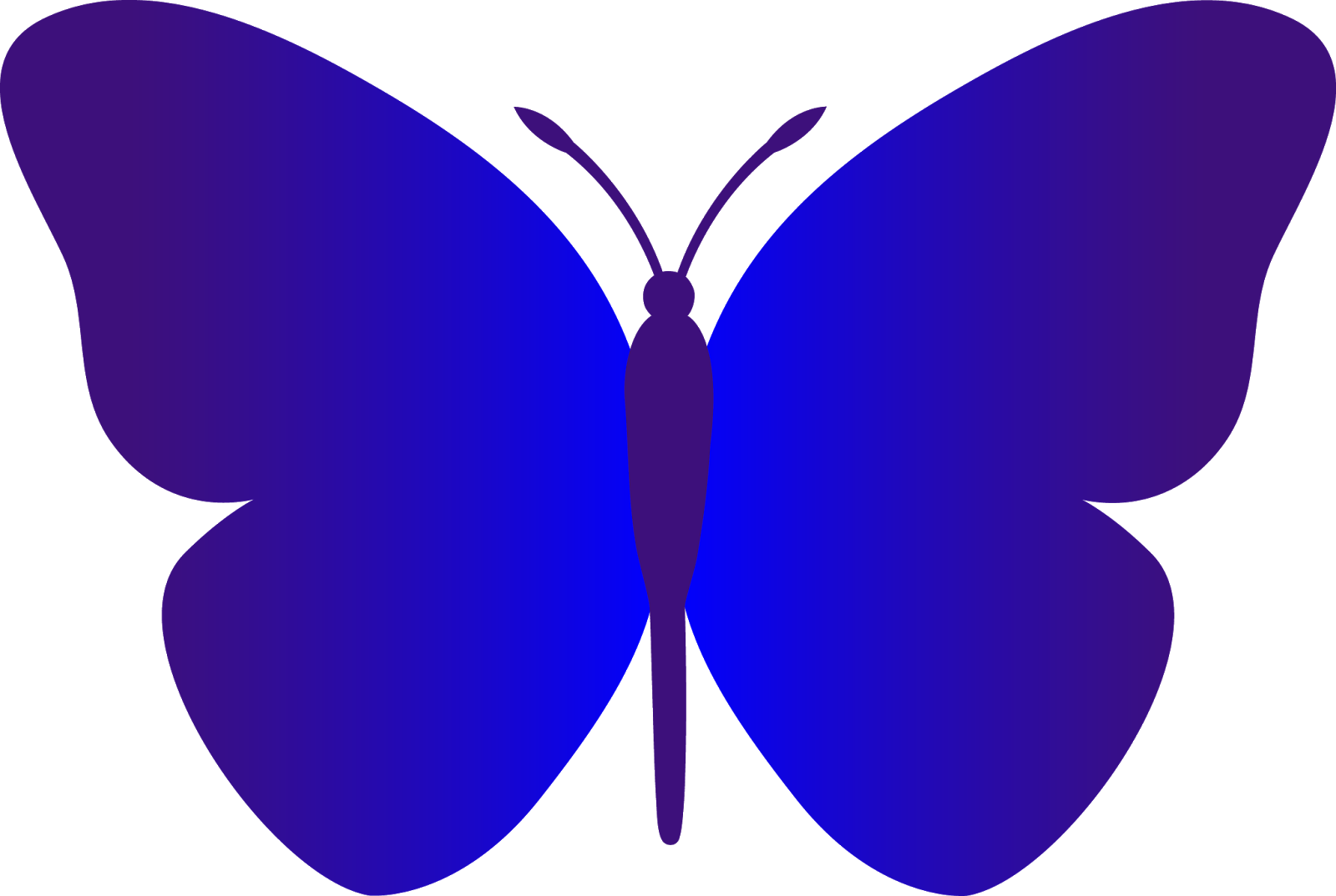 Black and white outline. Clipart butterfly plain