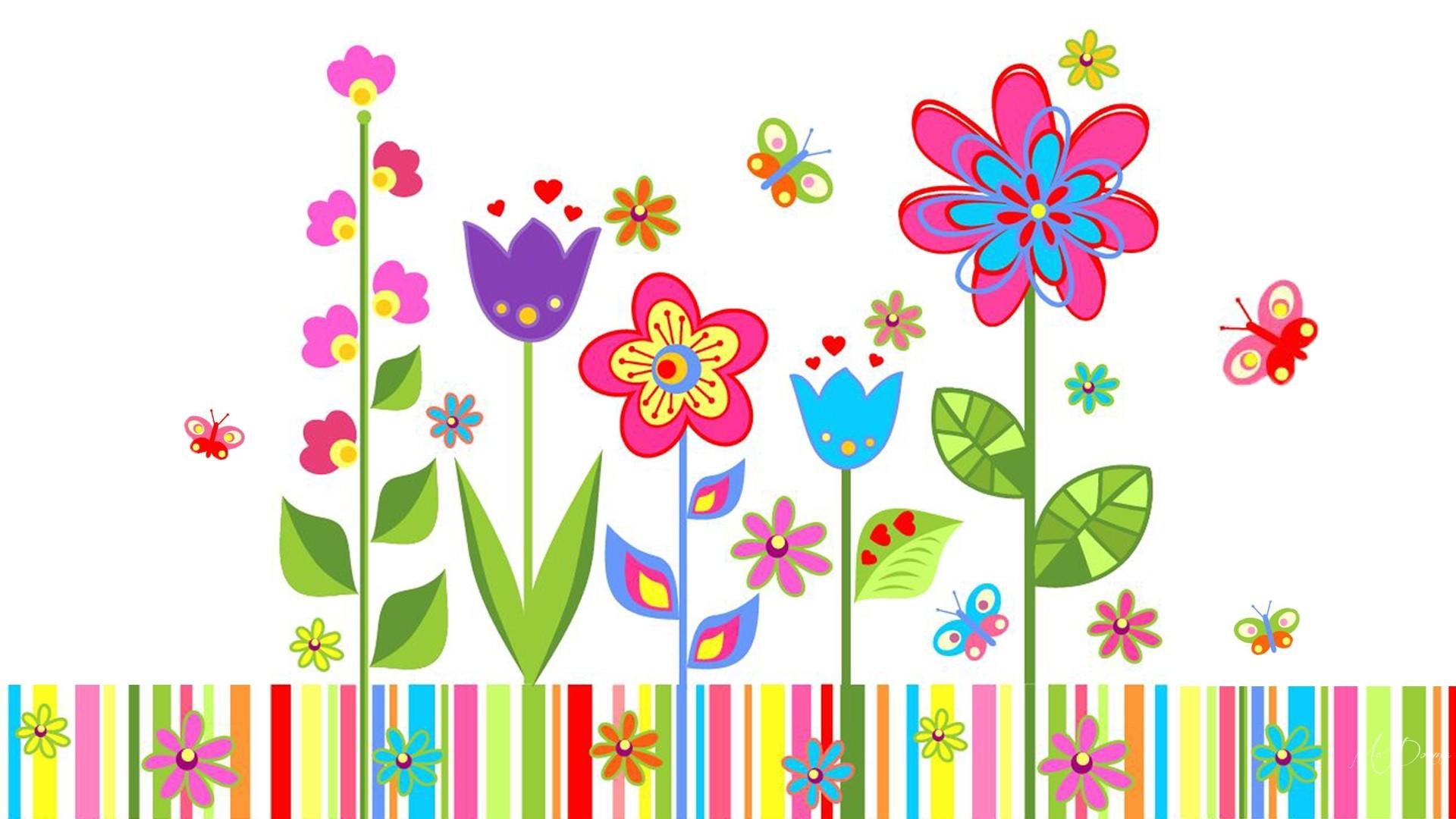 Flowers spring abstract garden. Butterflies clipart summer flower
