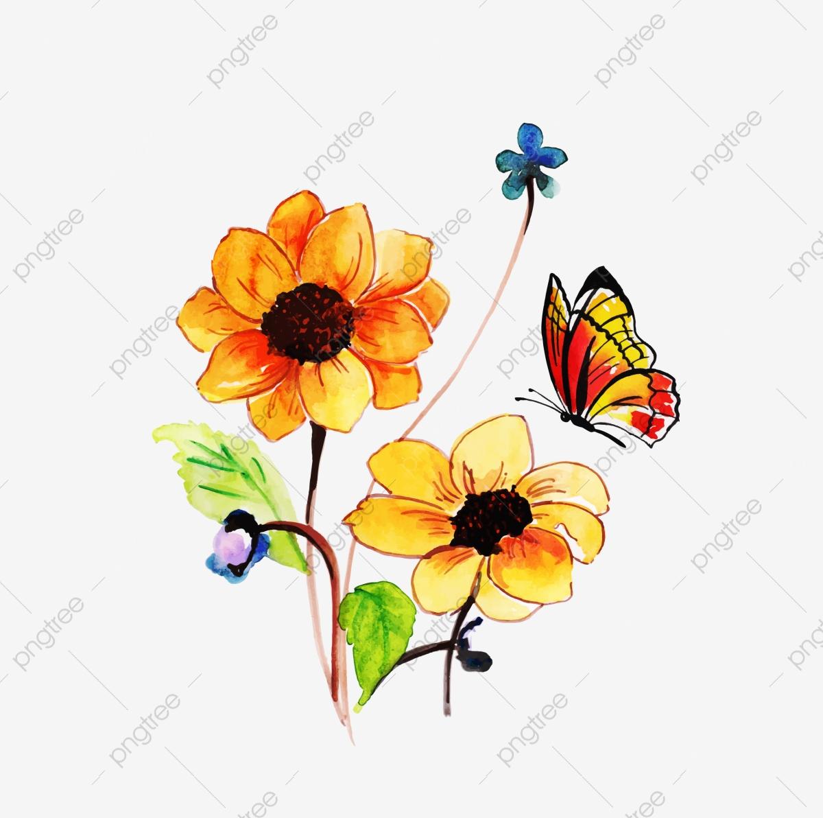 Butterfly flowers . Butterflies clipart summer flower